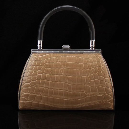 Alligator bag in Bone by designer german valdivia