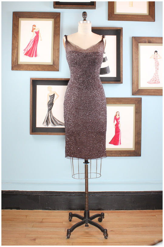 cocktail dress brown hand beaded by designer german valdivia