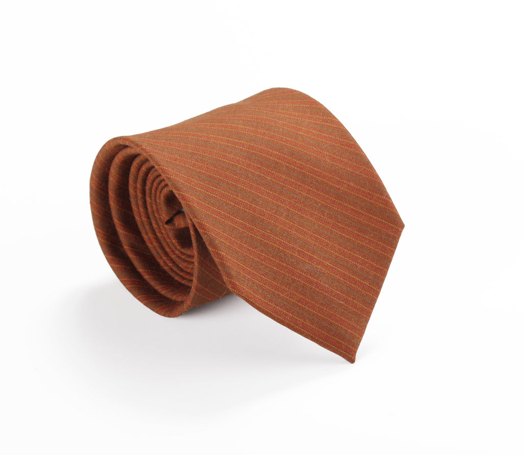 brown tan striped wool tie by german valdivia