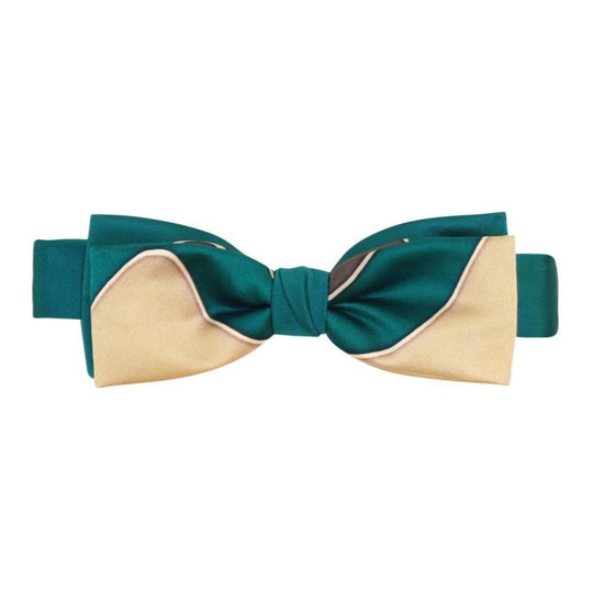 Emerald Green Gold silk Hand painted  Pre tied Bow tie  by designer German Valdivia