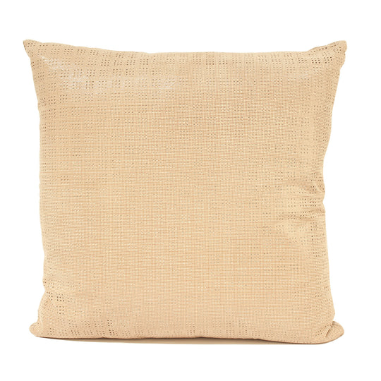 Beige Perforated Leather Decorative Pillow