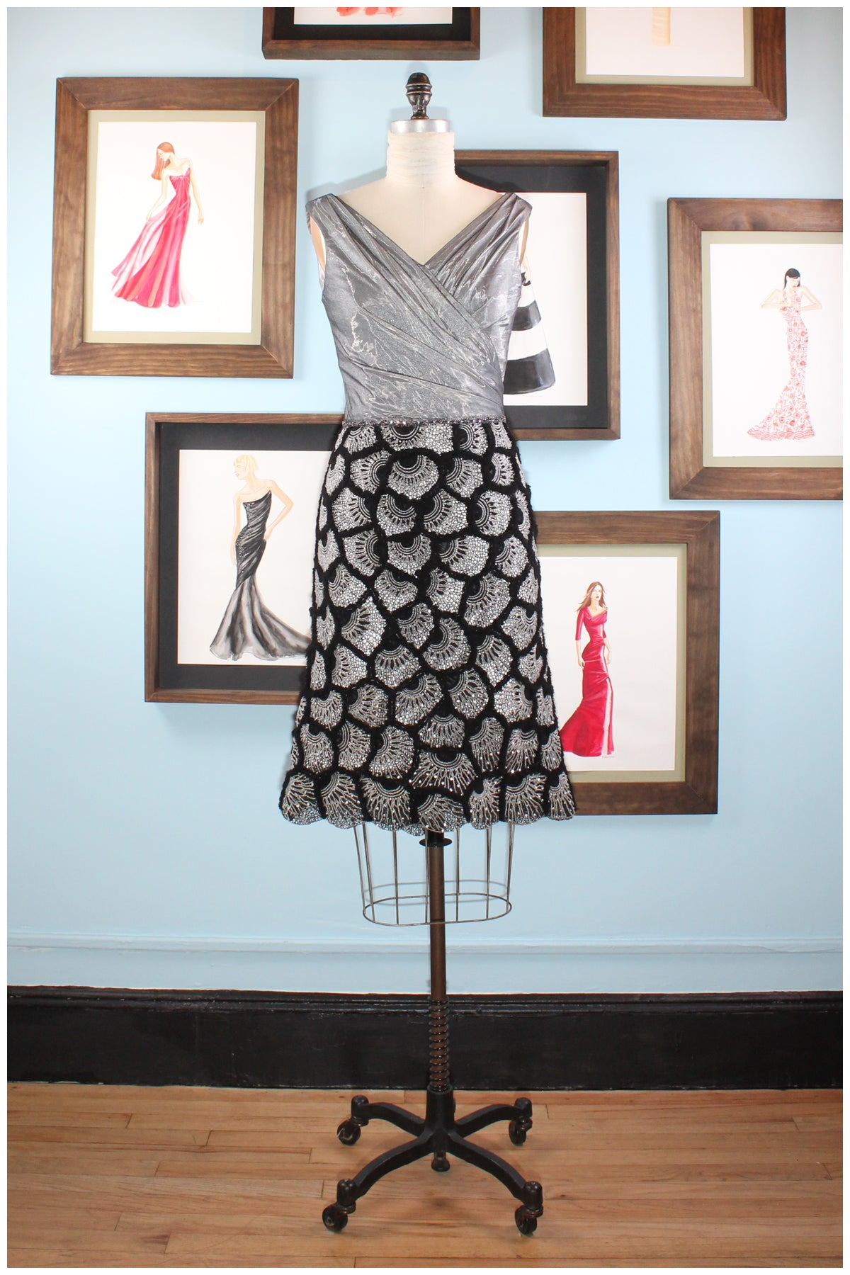 cocktail dress silver and black with crystals and embroidery  by designer german valdivia