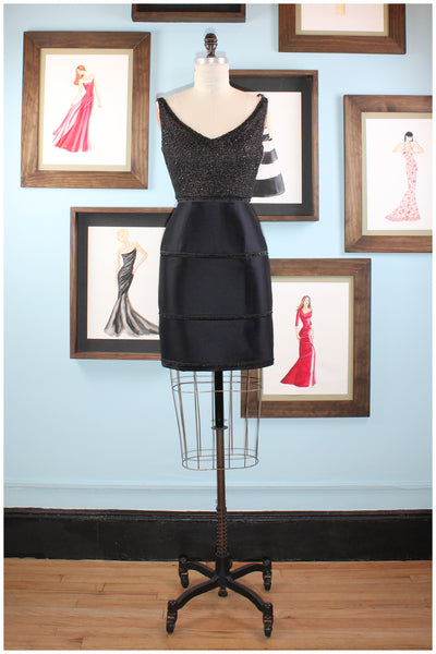 cocktail dress in black satin by designer german valdivia