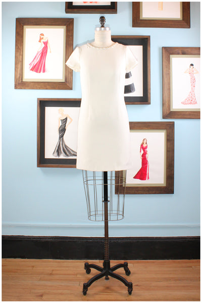 cocktail dress cream with embroidery by designer german valdivia