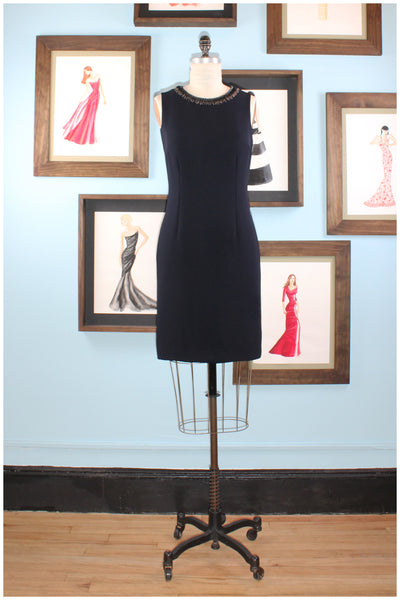 cocktail dress navy with  hand beaded neckline  by designer german valdivia