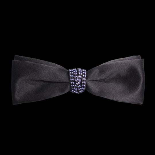 Black Silk Satin Pre Tied Bow Tie by German Valdivia