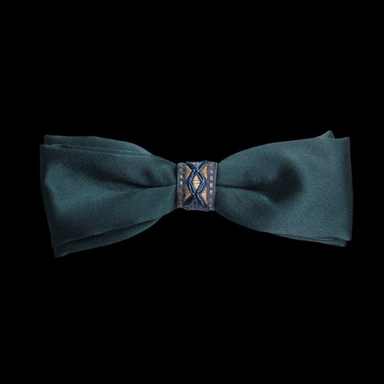Green Gold  Silk Self Tied Bow Tie by German Valdivia