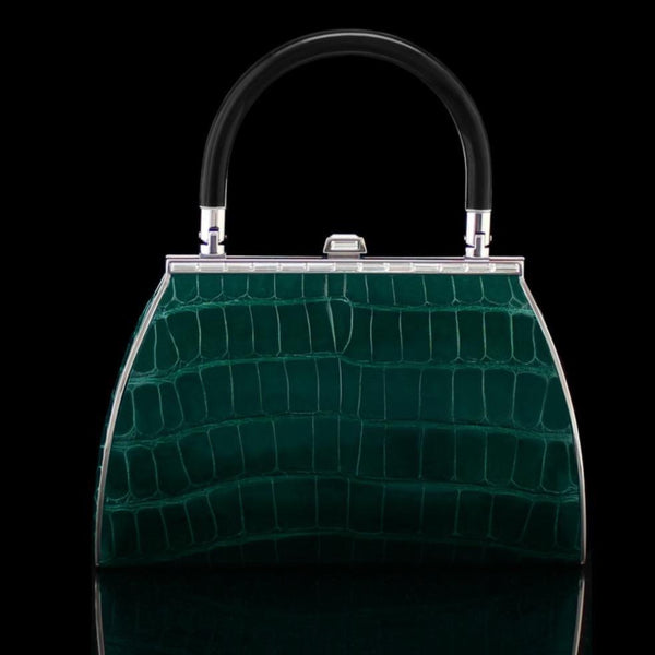 Alligator Bag in Emerald by designer german valdivia