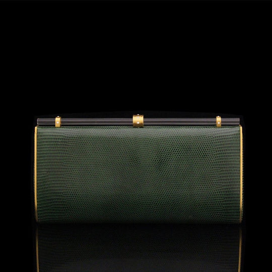 Clutch hand bag green by designer German Valdivia