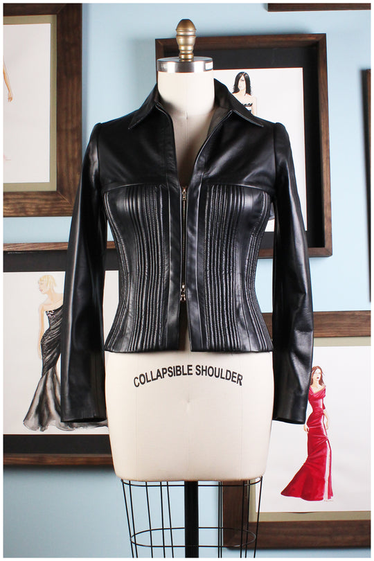 black seamed leather jacket by designer german valdivia