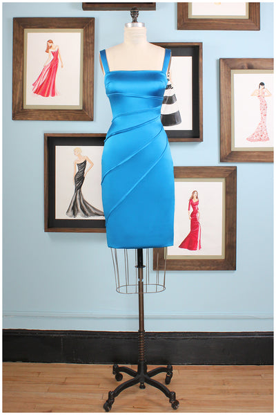 cocktail dress blue seamed by designer german valdivia