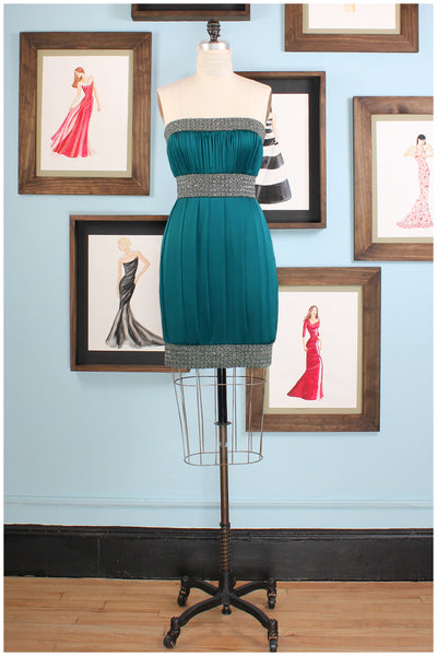 cocktail dress emerald hand beaded by designer german valdivia