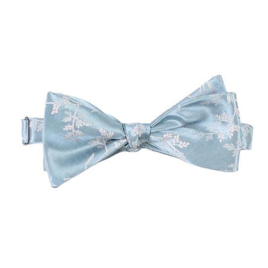 Dusty Blue Floral Self tie bow tie by German Valdivia