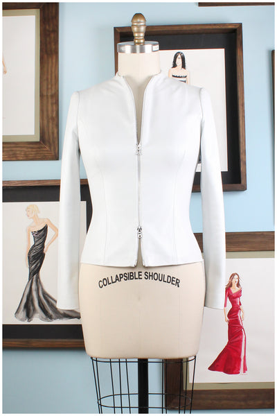 white fitted leather jacket by designer german valdivia