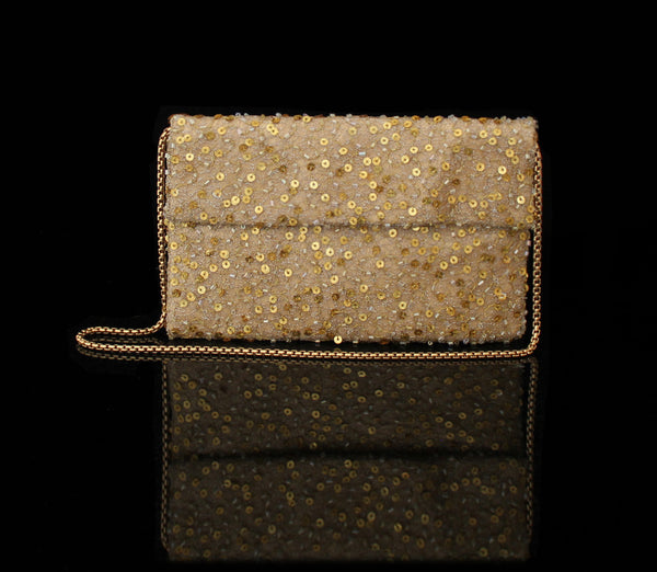 Gold Hand Beaded Clutch