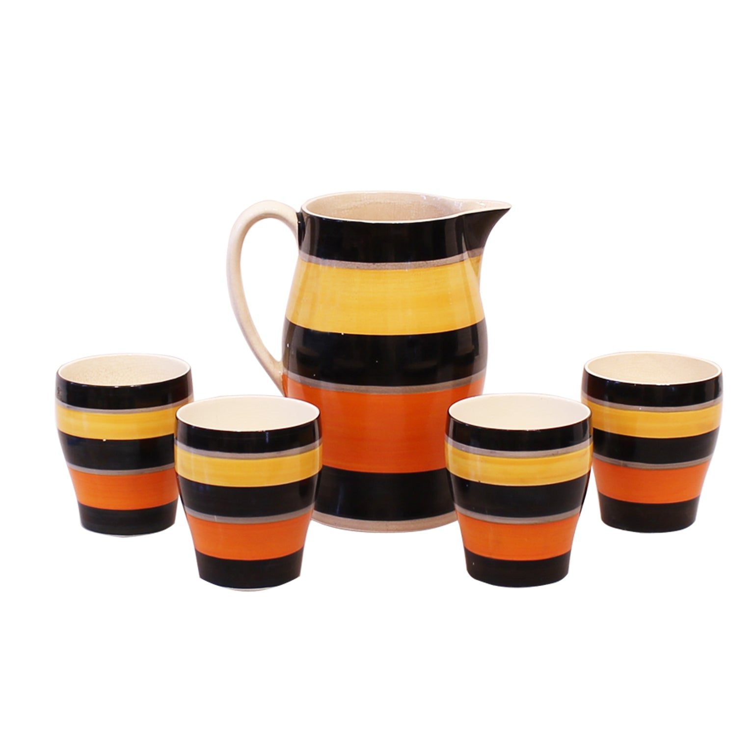 Gray's Pottery Hand Painted Pitcher and Glasses Set