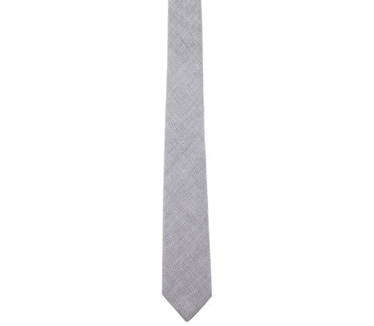 grey pinpoint cotton skinny tie by german valdivia