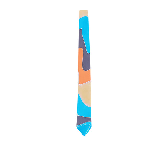 hand painted tie grey orange champagne turquoise by designer german valdivia