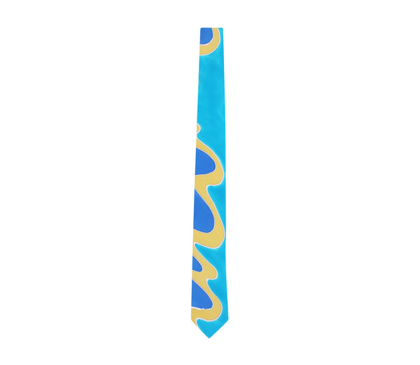 hand painted tie cyan turquoise yellow blue by designer german valdivia