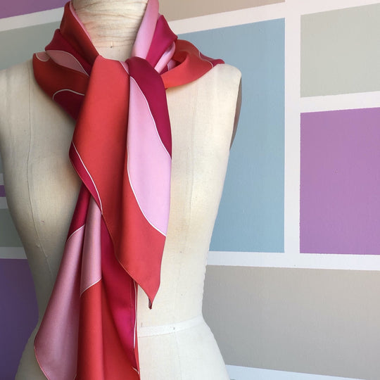 Silk scarf red dusty rose by designer German Valdivia