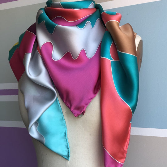 silk scarf grey green aqua by designer German Valdivia