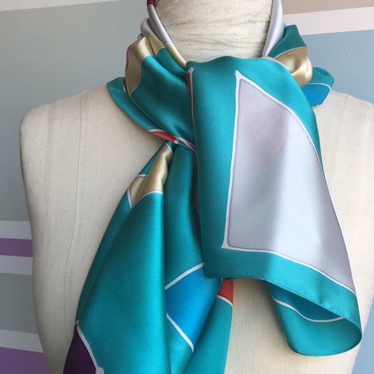 Silk scarf aqua grey gold blue