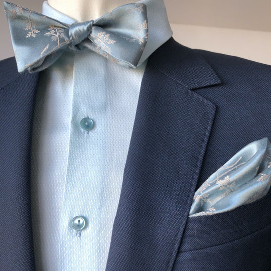 Dusty Blue Floral Self Tie Bow tie with Dusty Blue Pocket Square