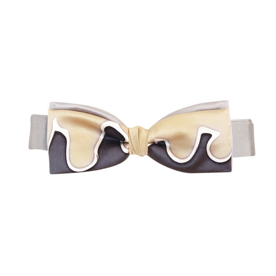 gold Grey silver white hand painted pre tied bow tie by German Valdivia