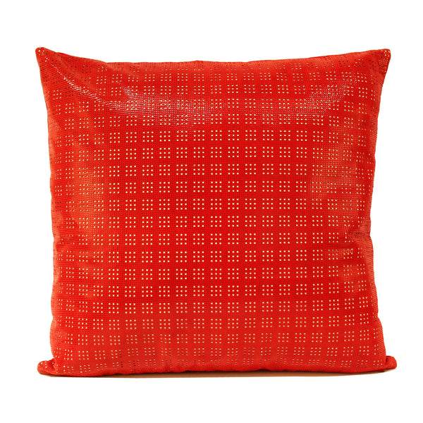 Red Perforated Leather Decorative Pillow