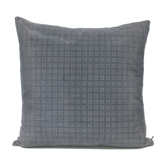 Blue Perforated Leather Decorative Pillow