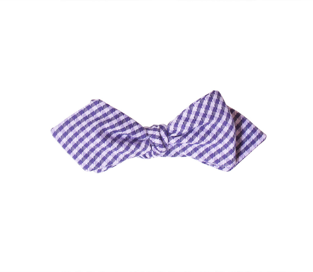 Lavender Gingham Diamond Tip Bow Tie