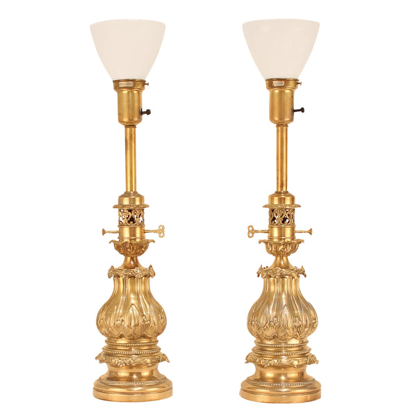 Extraordinary 1940s Pair of Stiffel Brass Lamps