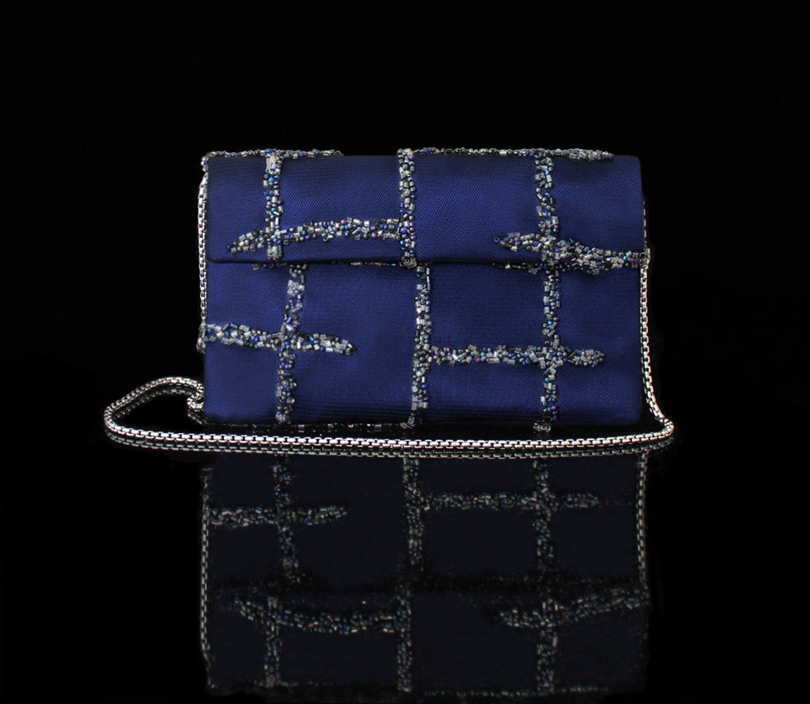 Navy Hand Beaded Clutch
