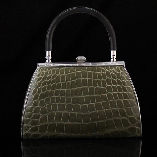 alligator bag in olive by designer german valdivia