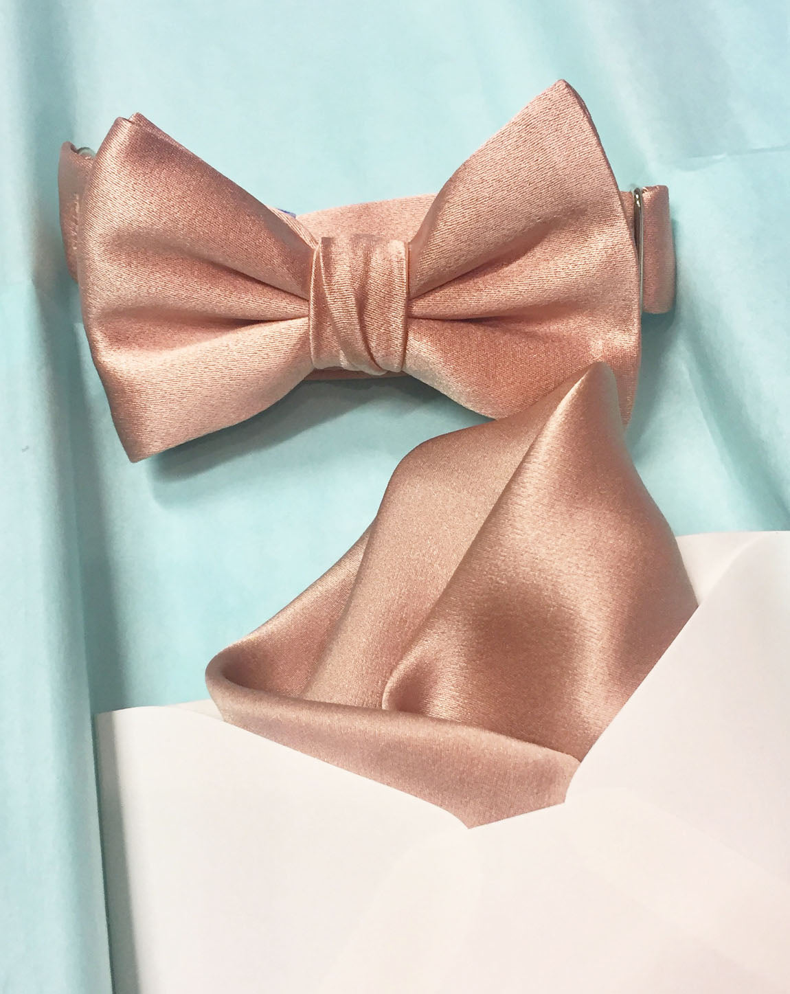 330d11b94829b We stand behind our rose gold bow tie and pocket square, but if you are in  any way unsatisfied, we offer easy returns.