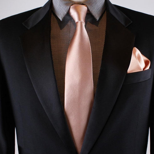 Rose gold tie, rose gold pocket square, rose gold pocket square