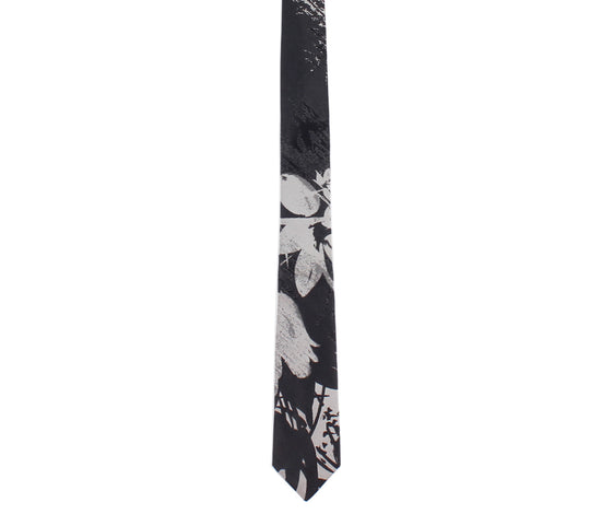 black grey silver skinny floral tie by german valdivia