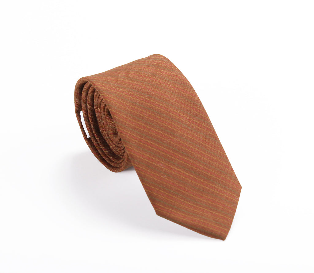 brown tan striped wool skinny tie by german valdivia