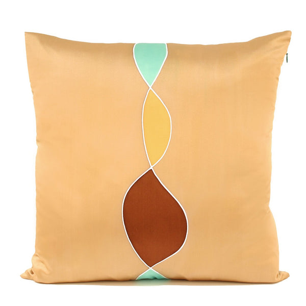 Aqua Gold Brown Handpainted Silk Decorative Pillow