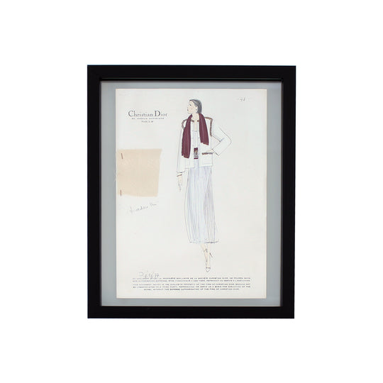 Vintage Haute Couture Christian Dior Fashion Sketch
