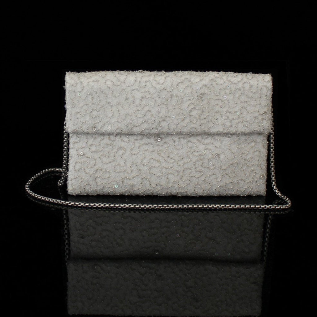 White Hand Beaded Clutch