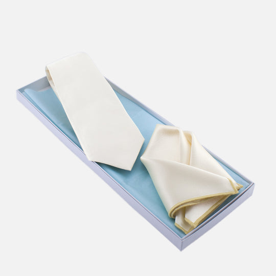 Ivory Tie and Pocket Square
