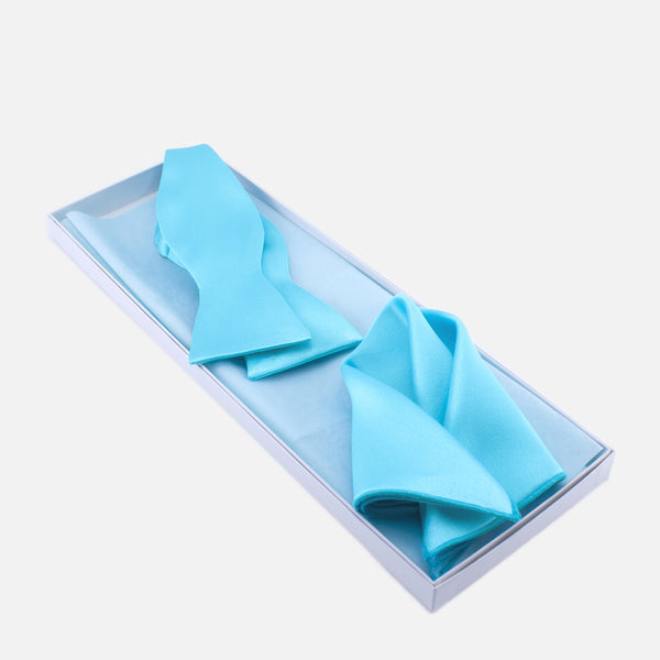 Turquoise Bow Tie and Pocket Square