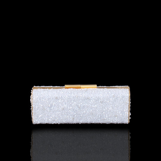 White Sequins and Crystals Clutch