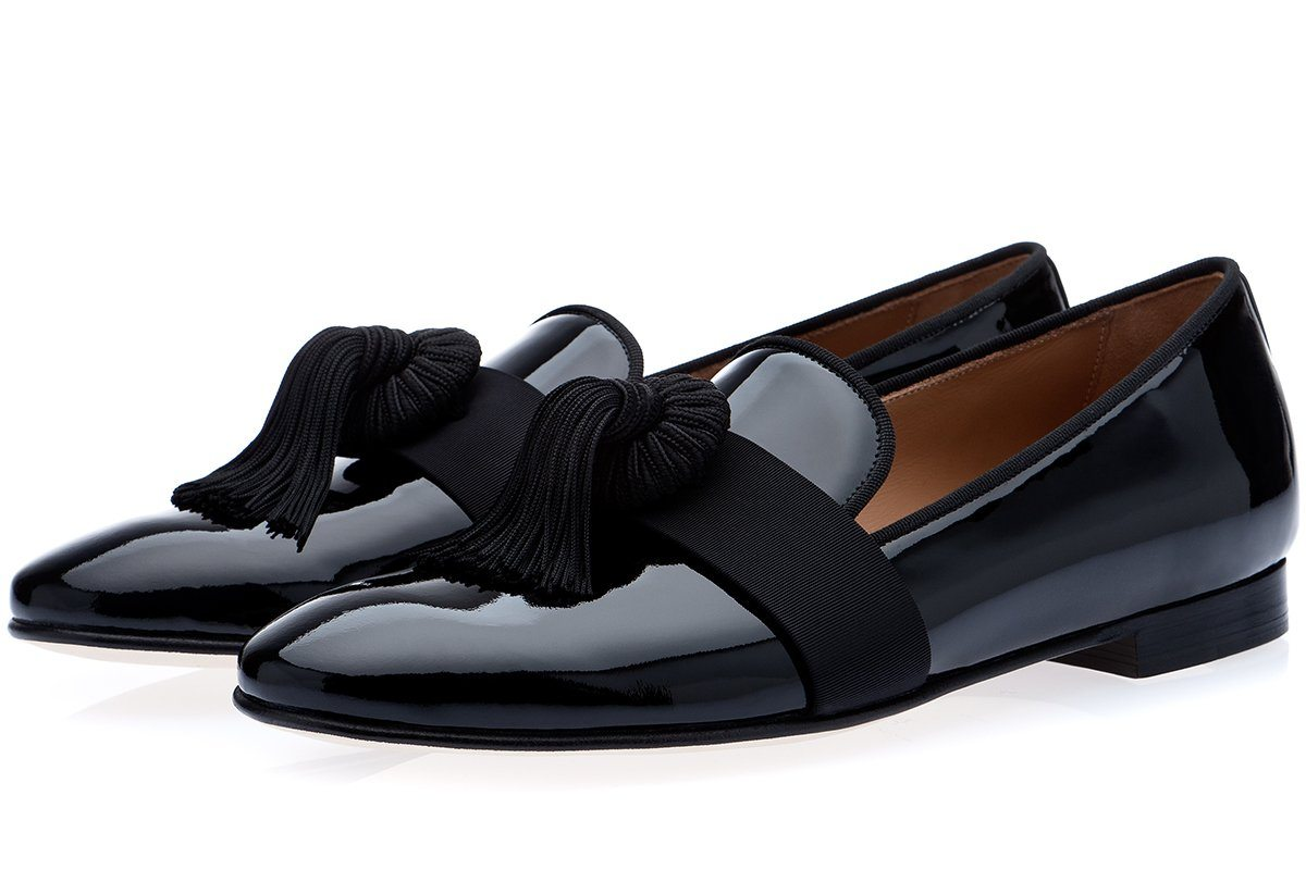 AGADIR PATENT BLACK SLIPPERS Slippers Superglamourous