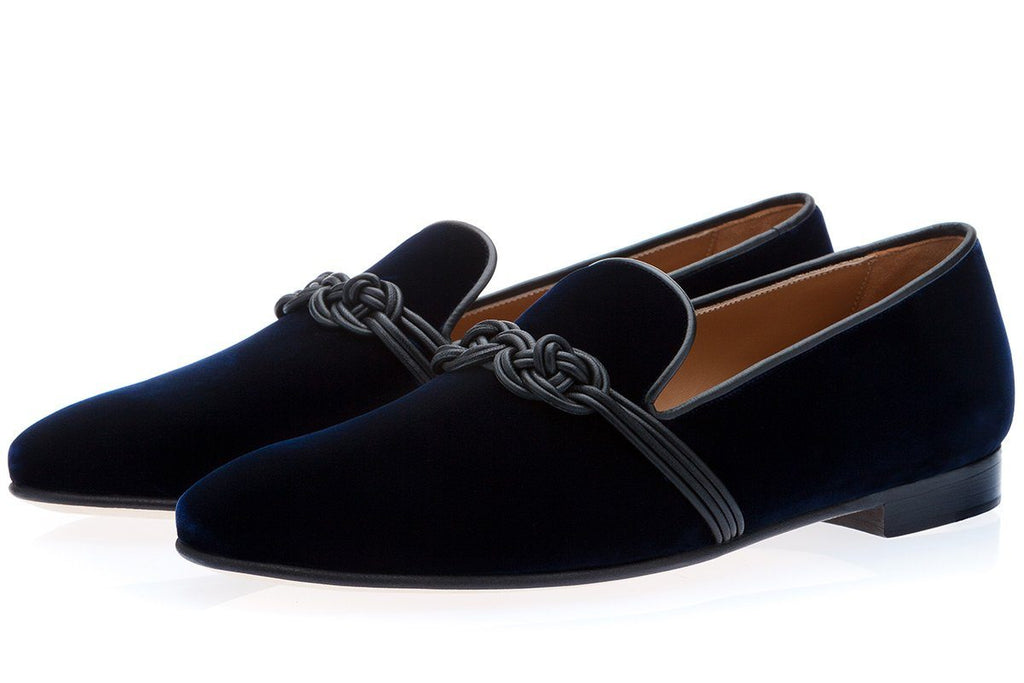 APOLLO VELOUR NAVY SLIPPERS Slippers Superglamourous