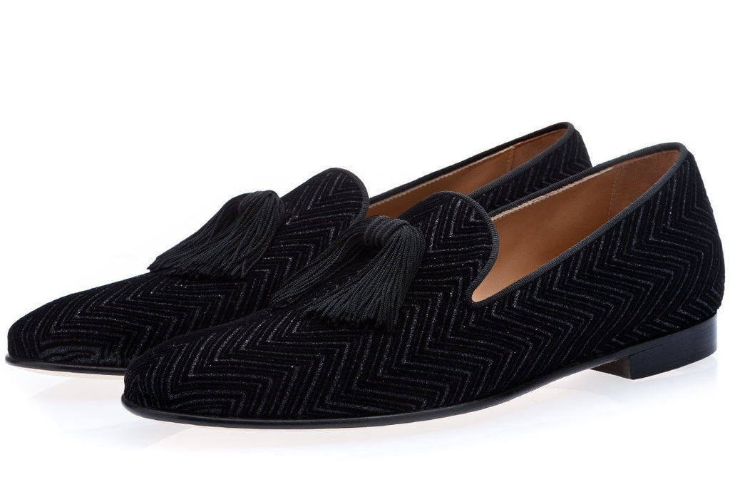 FREDDIE ZIGZAG BLACK SLIPPERS Slippers Superglamourous