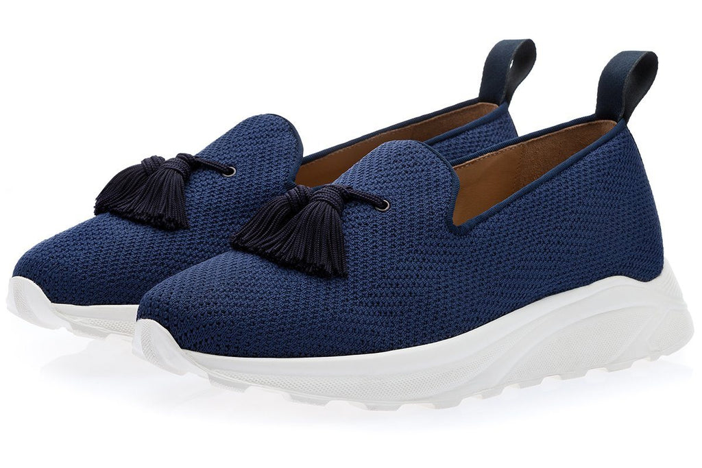LOUIS STRETCH-KNIT NAVY TRAINER Sneakers Superglamourous