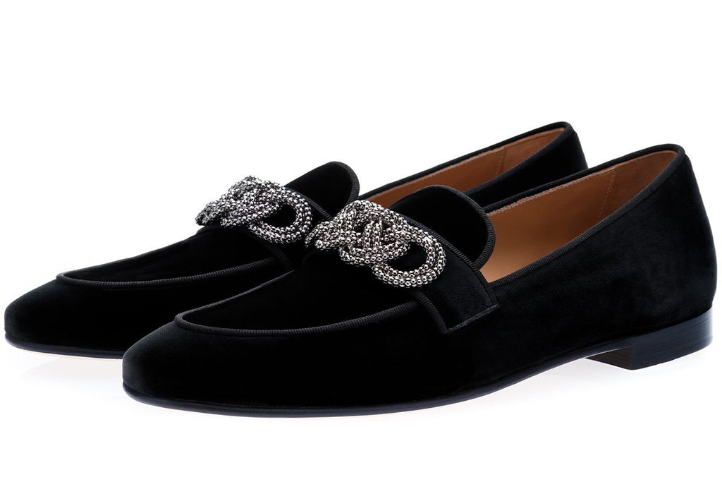 MOROSINO VELOUR BLACK SLIPPERS Slippers Superglamourous