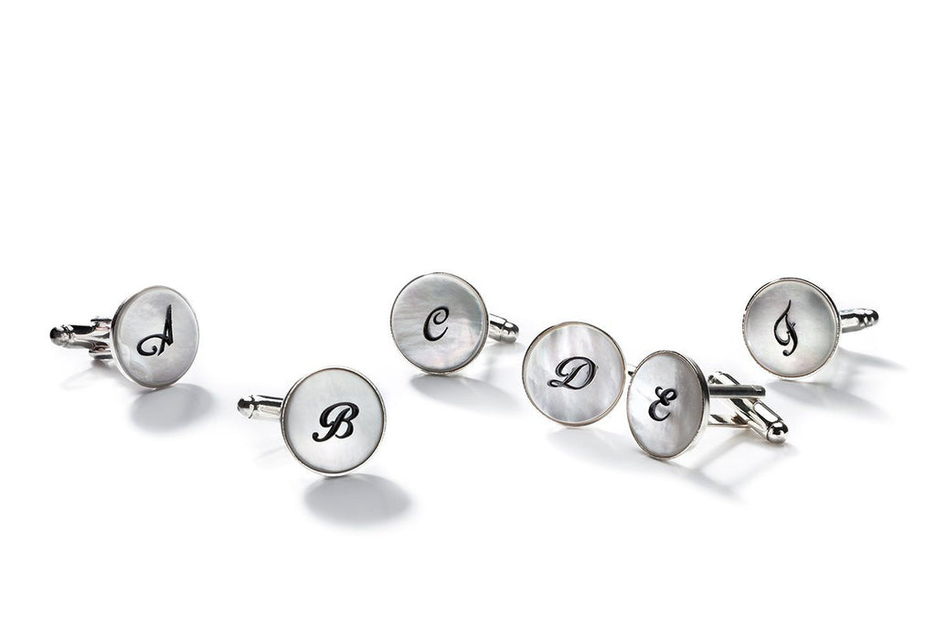O-LINK MOTHER OF PEARL MONOGRAM CUFFLINKS